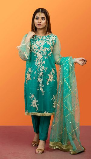 Teal Embroidered 3-Piece Suit