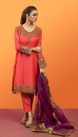 Pink Embroidered 3-Piece Suit