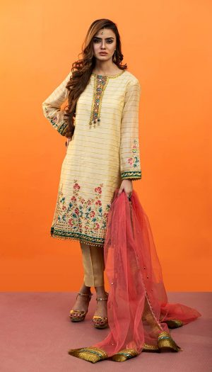 Beige Embroidered 3-Piece Suit
