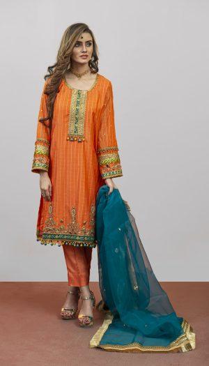 Orange Embroidered 3-Piece Suit