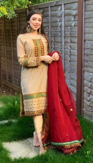 Greige Embroidered 3-Piece Suit